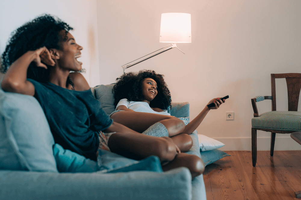 Black women watching tv