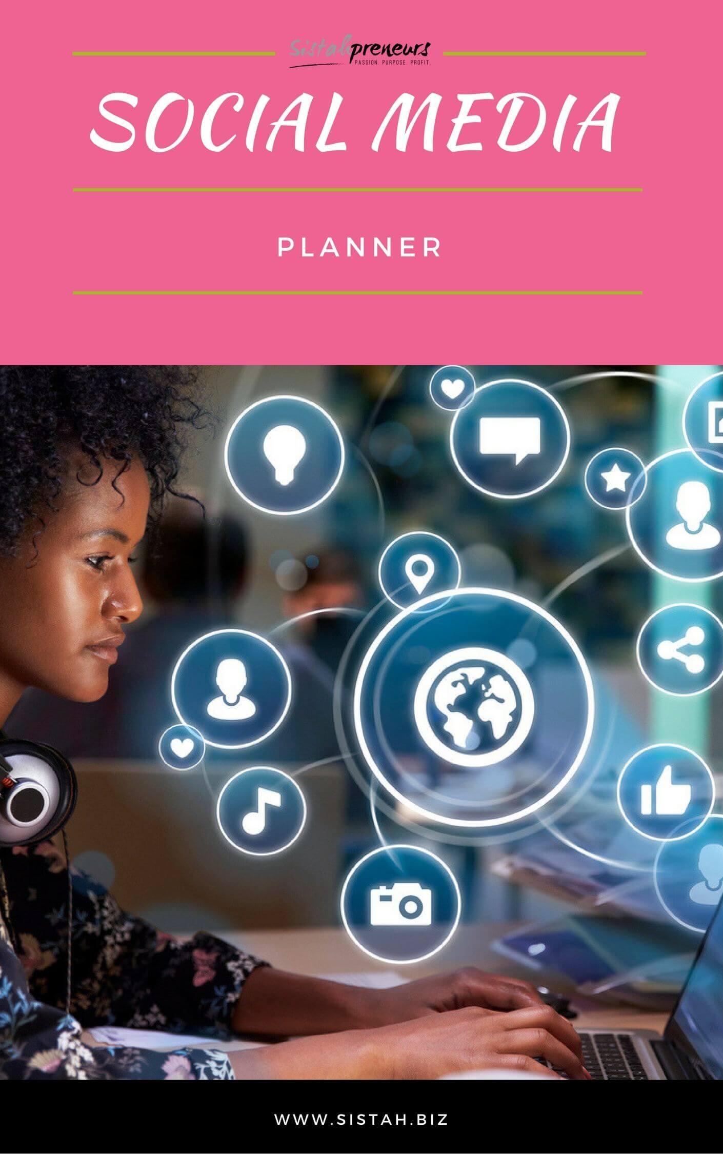 Black Female Entrepreneur Social Media Planner Ebook Cover