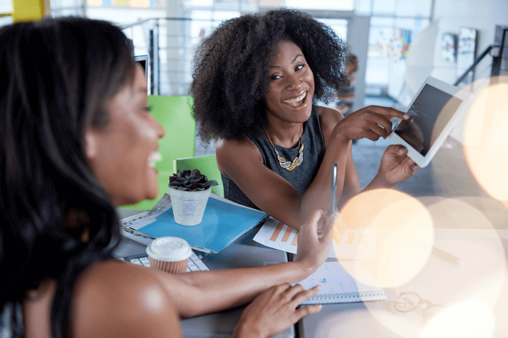 Two Black women in business working